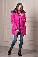 Зимняя женская теплая куртка с капюшоном Keilly малинового цвета  БЕСПЛАТНАЯ ДОСТАВКА!!!