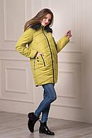 Молодежная женская зимняя куртка с капюшоном Keilly оливкового цвета  БЕСПЛАТНАЯ ДОСТАВКА!!!