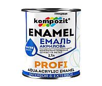 Эмаль акриловая KOMPOZIT PROFI универсальная белая глянцевая, 2,7л