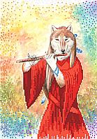 Схема для бисера Лиса и флейта