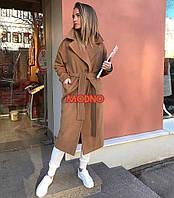 Женское пальто Классика на запах кемел