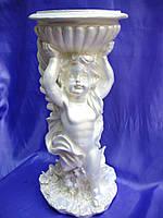 Скульптура Ангел с чашей 52 см. (Полистоун белый)