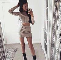 """Молодежный, женский, вязаный костюм мини-юбка + свитерок """"Модный декор"""" Турция! РАЗНЫЕ ЦВЕТА"""