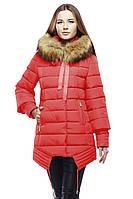 Кораловая яркая зимняя куртка для женщины