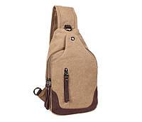 Сверхпрочная мужская сумка-рюкзак через плечо бежевая