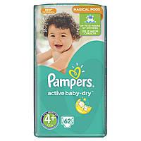 Подгузники Pampers Active Baby-Dry Maxi+ 4+ для детей 9-16 кг 62 шт