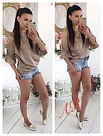 Модная женская блуза (шелк, рукава 3/4, горловина и рукава кулиске, открытые плечи) РАЗНЫЕ ЦВЕТА!