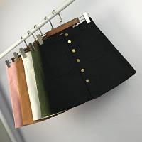 Женская юбка трапеция на пуговицах с карманами черная