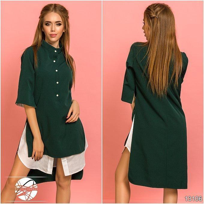 e718f897dee Женское асимметричное платье-рубашка зеленого цвета с рукавом 3 4. Модель  13106.