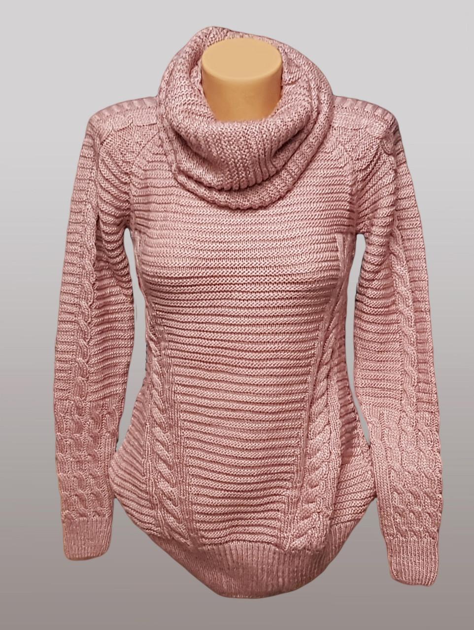 Женская вязаная туника с шарфом-хомут