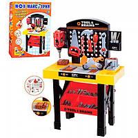 Игрушечные инструменты для мальчиков М 0447, 75см, верстак с лотком, гайки и болты, дрель