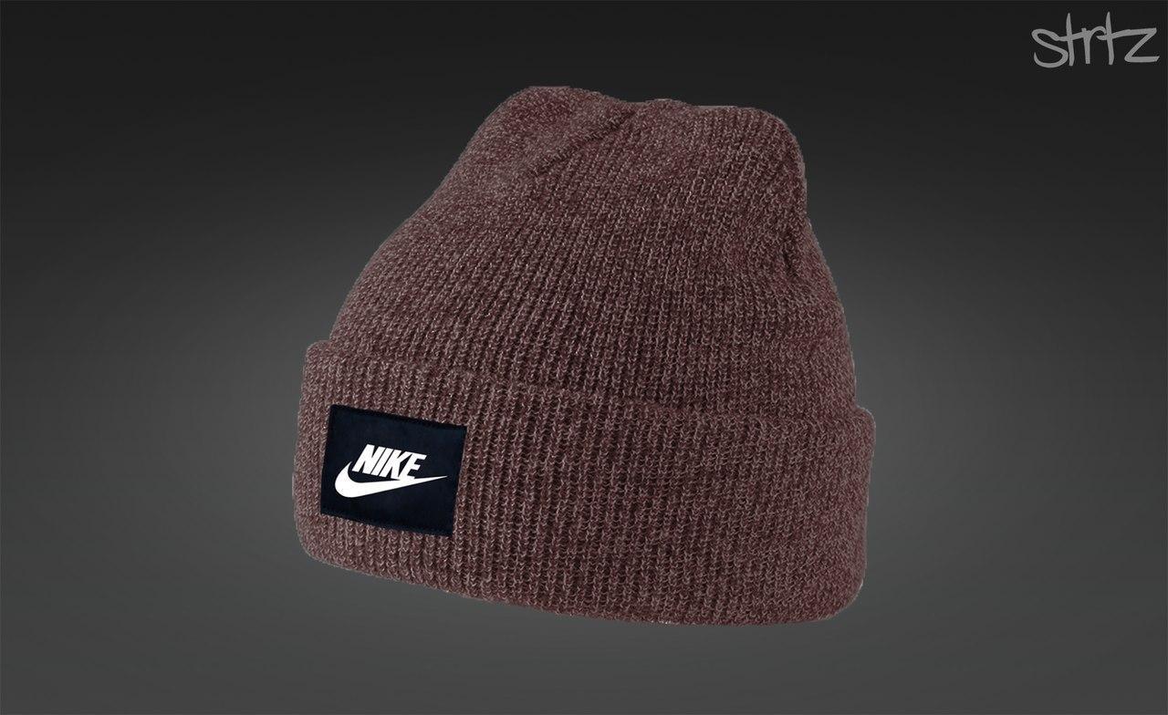 Коричневая зимняя шапка найк/Nike