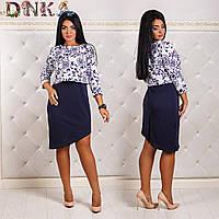 Платье асимметричное, имитация двойки (платье+болеро), разные расцветки, большие размеры