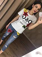 Яркие женские джинсы (  фабричный Китай, узкие, прорези, декор цветы)