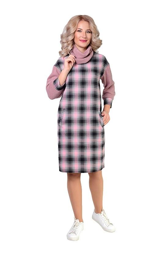 Теплое платье в клетку из ангоры 46-52рр