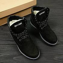 Зимние женские ботинки Timberland Classic черные на меху топ реплика, фото 3