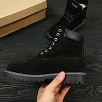 Зимние женские ботинки Timberland Classic черные на меху