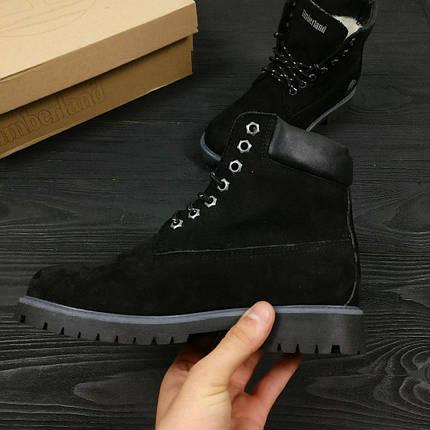 Зимние женские ботинки Timberland Classic черные на меху топ реплика, фото 2