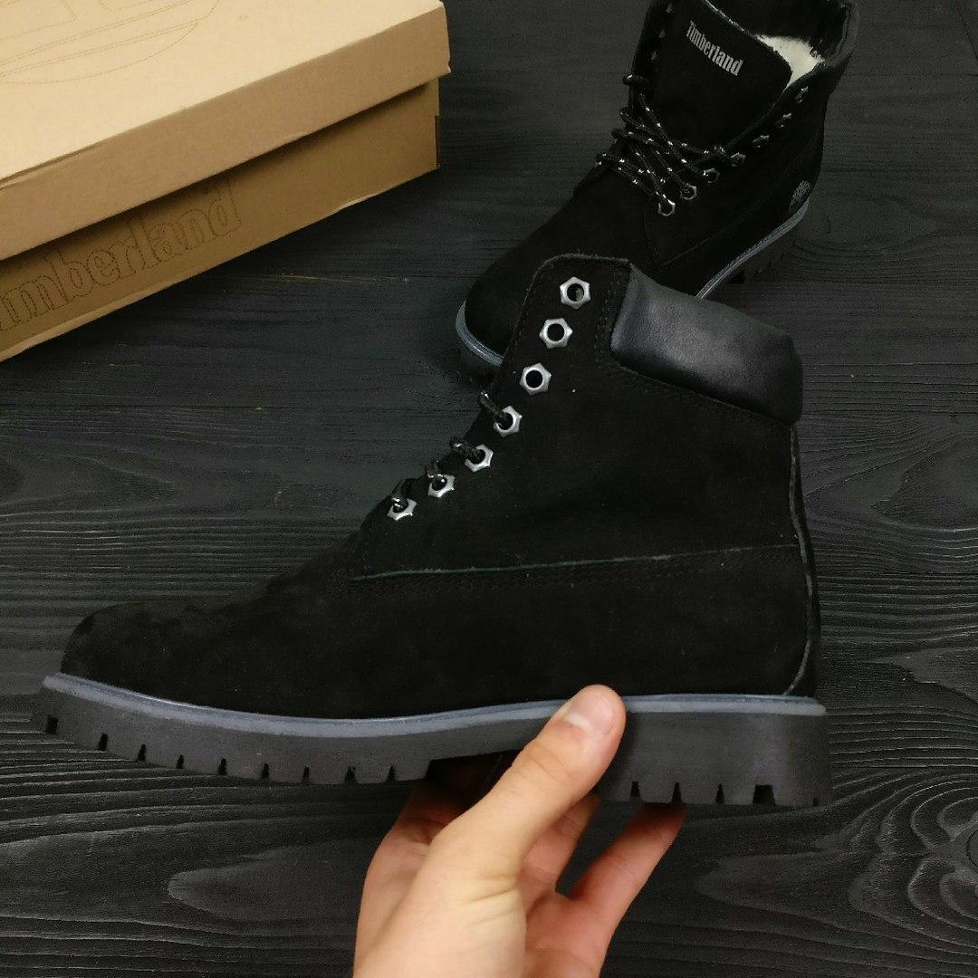 Зимние женские ботинки Timberland Classic черные на меху топ реплика