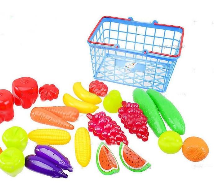 Игрушечный набор фрукты-овощи в корзинке