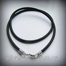 7001 Мужской каучуковый шнур с серебряными литьевыми элементами 925 пробы