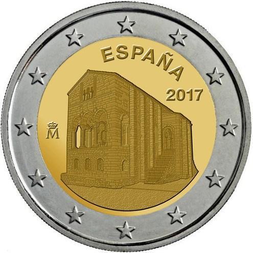 2 євро 2017 Іспанія - Церква Королівства Астурія. UNC з ролу !