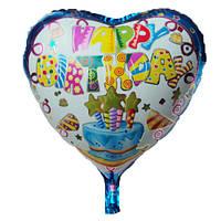 """Шар воздушный фольгированный Happy Birthday  сердце blue18"""""""