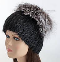 Меховая шапка из ондатры с чернобуркой Барбара