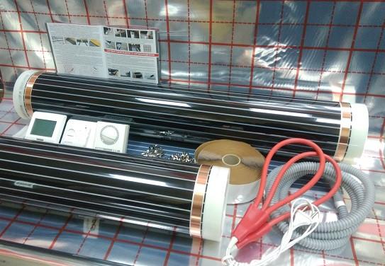10 m2 Пленочный теплый пол In-Therm, нагревательная пленка инфракрасная с терморегулятором и датчиком пола