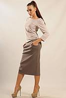 """Женская юбка RR """"СИТИ"""" серо-коричневый"""