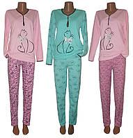 Уценка! Пижама женская теплая трикотажная Кошка на байке, хлопок, р.р.40-58