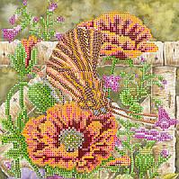 Схема для вышивки бисером  «Бабочка и маки»
