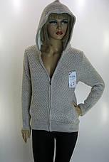 Жіноча тепла вязана кофта з капюшоном , фото 2