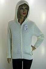 Жіноча тепла вязана кофта з капюшоном , фото 3