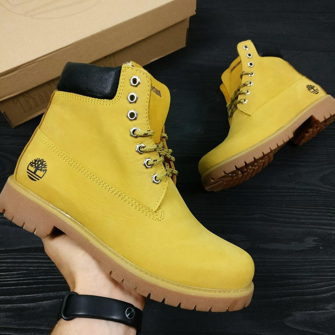 Зимние женские ботинки Timberland Classic желтые на меху топ реплика