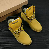 Зимние женские ботинки Timberland Classic желтые на меху