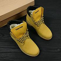 Зимние женские ботинки Timberland Classic желтые на меху топ реплика, фото 3