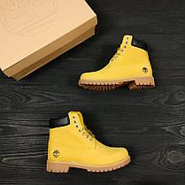 Зимние женские ботинки Timberland Classic желтые на меху топ реплика, фото 2