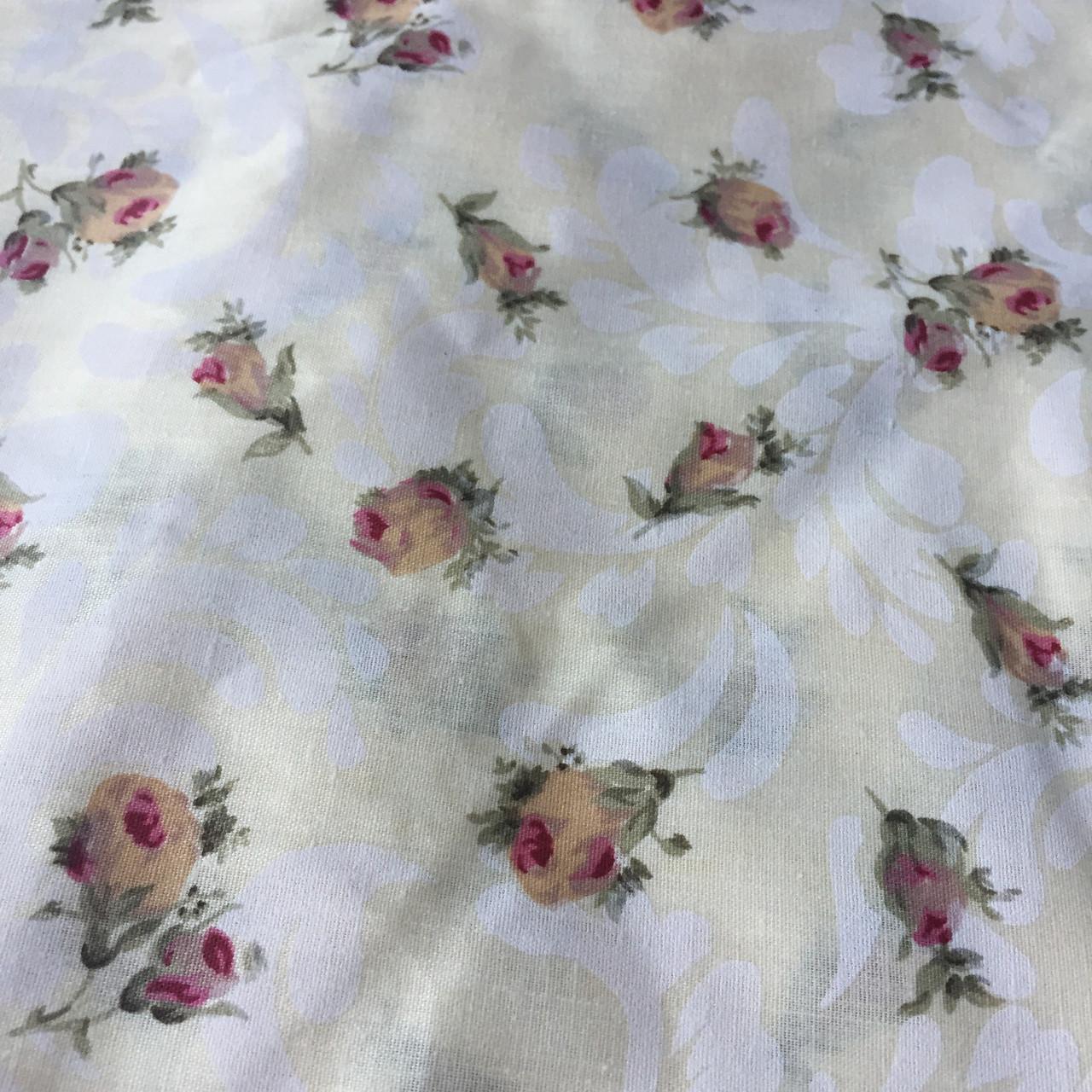 Бязь Прованс с бутонами роз на молочном фоне, фото 1