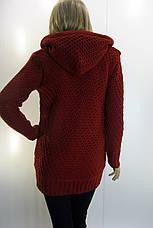 Жіноча утеплена  вязана кофта з капюшоном, фото 2
