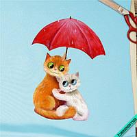 Термопереводки на клатчи Котики под зонтом [7 размеров в ассортименте]