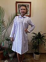 Сорочка женская для сна  теплая начесная с воротником на пуговицах