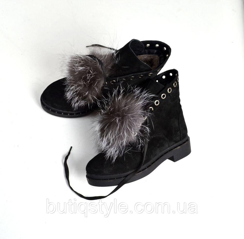 37 размер! Зимние женские ботиночки  с чернобуркой