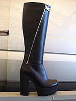 Сапоги модные женские осень-весна кожа и замша черные и бордо код 453