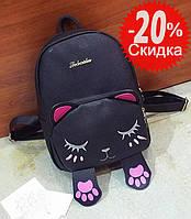 Рюкзак женский Кот с лапками (черный), фото 1