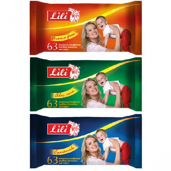 Детская влажная салфетка «Lili» 63 штуки «mix»