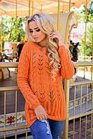 Свитер  шерстяной Краса 1342 оранжевый  42-48р
