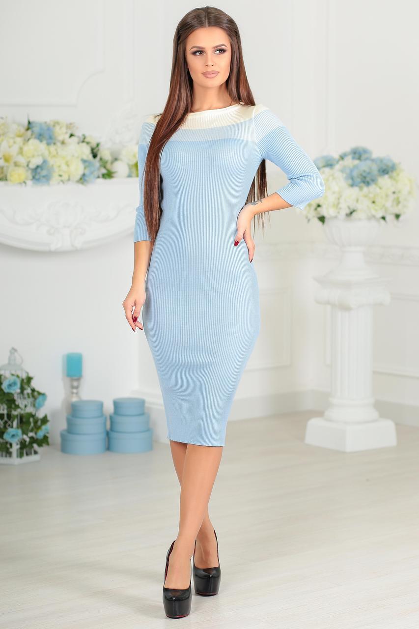 Весенее вязанное женское платье