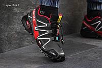 Зимние высокие  ботинки кроссовки Salomon Speedcross нубук,натур.мех,размеры 41-46 Черные с красным
