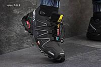 Зимние высокие  ботинки кроссовки Salomon Speedcross нубук,натур.мех,размеры 41-46 Черные с белым